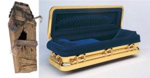 A vous de voir comme il vous plaît d'être enterré... (note : le modèle à droite existe aussi en taffetas)