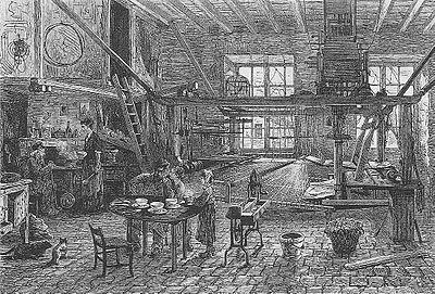 Atelier des canuts lyonnais, ouvriers de la soie au XIXe siècle