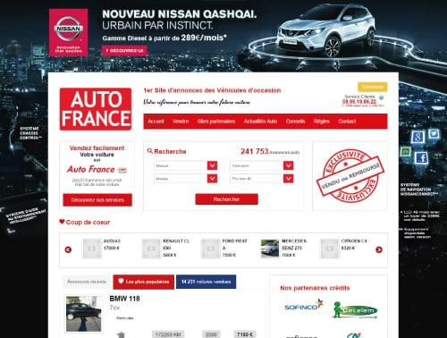 Page d'accueil sur le site d'Auto France