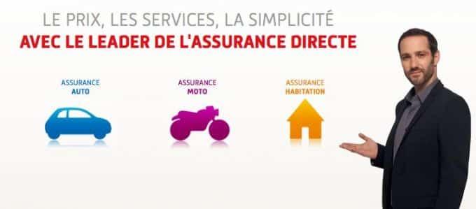 Publicité pour Direct Assurance, leader de l'assurance en ligne